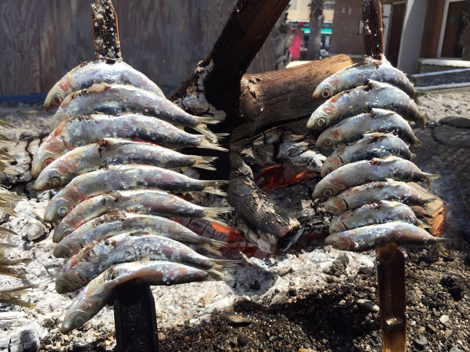 Sardientjes van de BBQ op het strand